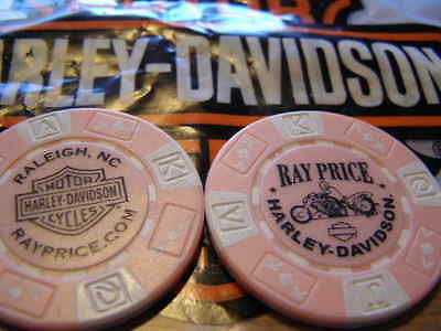 Harley Pink & White Poker Chip From Ray Price Harley Davidson Raleigh, NC