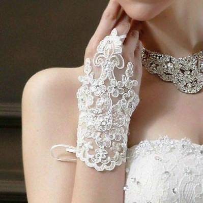HOT White/Ivory Lace Translucent Bridal Fingerless Wedding Prom Bridal Gloves