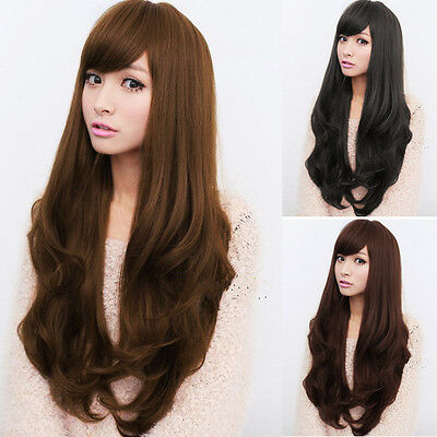 Wig Natural Curly Straight Wavy Fancy Dress Fashion Womens Ladies Hair Brown BLK