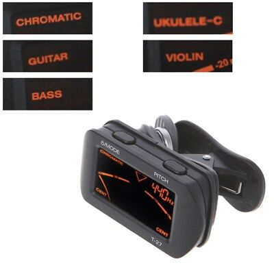 Electric Guitar Acoustic Tuner Digital LCD Clip-On Chromatic Bass Ukulele Violin