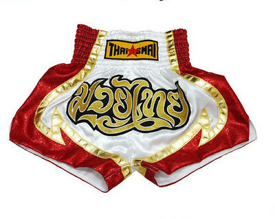 ThaiSmai Muay Thai White Red Shorts