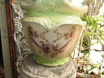 vintage jardiniere  bowl S F fielding co. stoKE on trent stamped floral swag