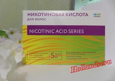 Nicotinic acid Renewal for hair. 10 ampoules x5 ml. Moisturizes, stimulates hair