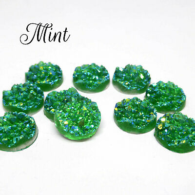 10 x Mint AB Druzy 11.5 - 12mm Cabochon Perfect for Earrings.