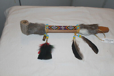 AUTHENTIC NATIVE AMERICAN PEACE PIPE By NAVAJO ARTIST D. YAZZIE With COA-13 5/8""