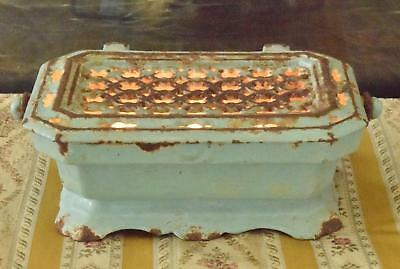 Superb Antique French Enamelled Cast Iron Foot Warmer / Food Warmer 19th C