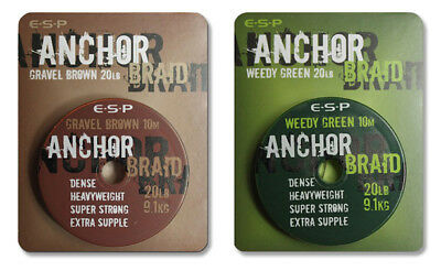 ESP NEW Anchor Braid Carp Fishing Sinking Hooklink 10m Spool *Full Range*