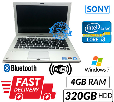 Sony Vaio PCG-4121 Laptop i3 2330M 2.20GHZ 4GB 320GB Windows 7 Free Shipping