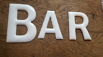 Old vintage 1950s enamel on copper letters BAR