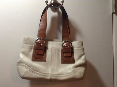 Authentic Coach F12302 Two Toned Cream And Brown Leather Hobo Shoulder Satchel B