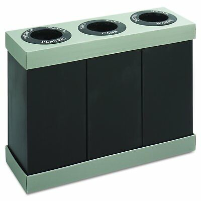 Safco Products Disposal Waste Recycling Center, Three 28-Gallon Bins, Black