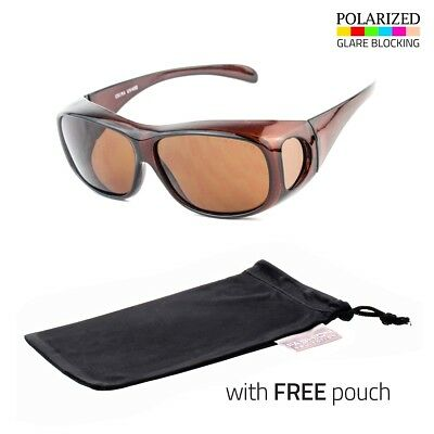 FIT OVER POLARIZED PRESCRIPTION GLASSES SUNGLASSES COVER ALL DRIVE WRAP Pouch I