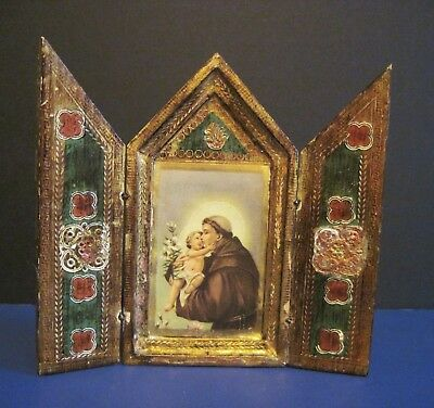 Antique Vintage Florentine Italy Wood Triptych Religious Icon St Anthony & Jesus