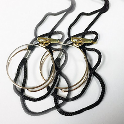 Monocle Reader with Gold/Silver Metal Plated, +2.00 power with nylon cord 2-Pack