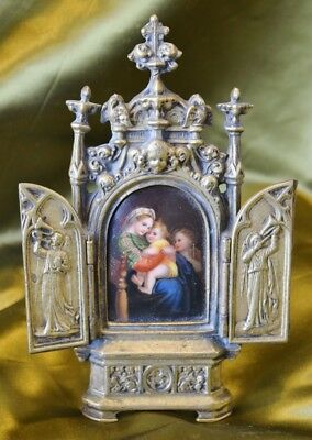 Exquisite Antique French Brass & Porcelain Religious Mary & Child Icon, 19th C