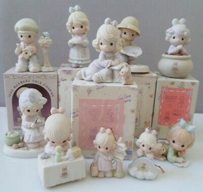 Precious Moments (with boxes) - lot of 8 figurines, 2 ornaments