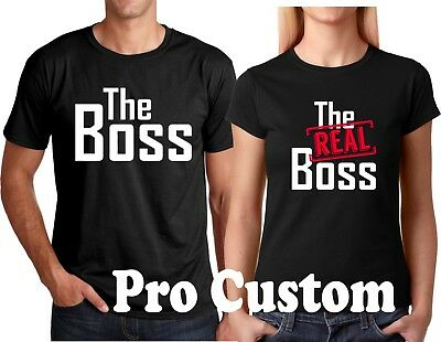 The Boss and The Real Boss Valentine's Gift Couple matching funny cute T-Shirts