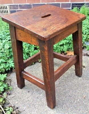 Antique Solid Oak Science Lab School Stool 49.5cms Tall Seat 38 x 30 cms