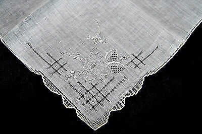 Amazing Victorian Style Floral Design Hand Embroidery Batiste Handkerchief