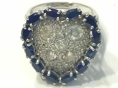 VINTAGE 2+ CTW OLD MINE CUT DIAMOND 14K WHITE GOLD Heart Shaped RING Sapphire