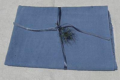 Vintage French Fabric Woven Pastel Blue Woad organic hemp linen textile