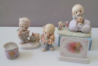 Precious Moments (with boxes) - lot of 3 figurines, 1 clock, 1 candleholder