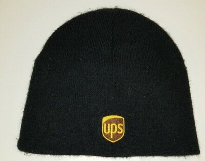 United Parcel Service Beanie UPS Hat Basic Black Cap Classic Brown Yellow Logo