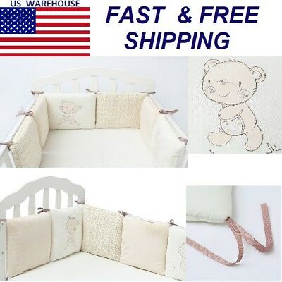 Set Cotton Bedding Crib Baby Bumper Bed Infant Protector Nursery Bumpers Kids