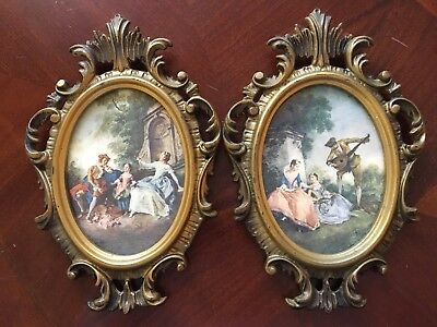2 Vtg Antique Glass Oval Frames French Nicolas Lancret Country Scenes Courting