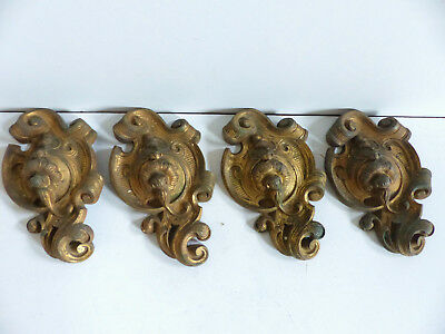 SET of 4 ANTIQUE 19th CENTURY BRONZE ORNAMENTS CURTAINS TIEBACKS HOOKS
