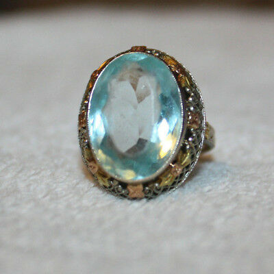 1920s Art Deco 14K Multi Color Gold Filigree Aquamarine Cocktail Ring - Sz 5.5
