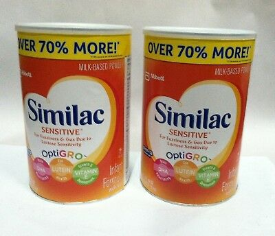 Lot of 2 Similac Sensitive Baby Fussiness Gas Formula with Iron 40 oz DEC 2018