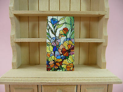 DOLLHOUSE MINIATURES Stained Glass Window Wall Art Faux Painting Picture Metal