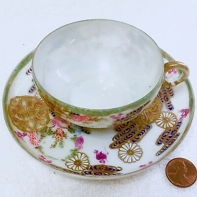Old Asian Egg Shell China Cup/Saucer Set Demitasse Gilded Beautifully Colored QQ