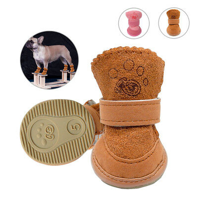 4pcs Dog Shoes Small Medium Boots Fleece Lining Snow Rain Non Slip Puppy Booties