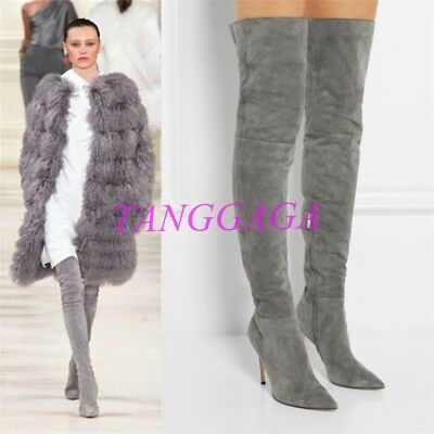 Sexy Suede Pointed Toe Womens Over the Knee Boots Chic Side zip Stilettos Shoes