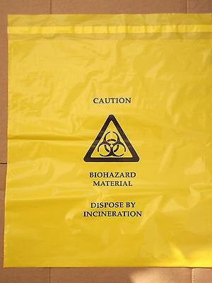 Biohazard Self Seal Yellow Bag, Clinical Waste, 35 x 39 cm.