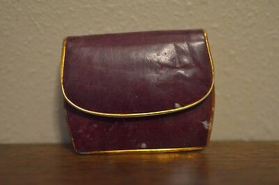 Vintage Mini Purple Coin purse Gold Edge Leather ADORABLE!!