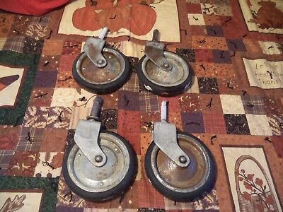 "Four Nice Old Antique Large Heavy Duty 5"" Cart Rubber Castor Wheels"