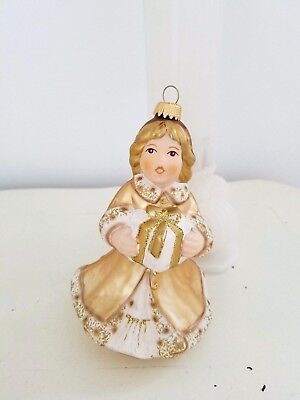 2003 GOEBEL Hand Blown Glass ANGEL ORNAMENT Ltd Ed ~ Gold Gown Present Beautiful