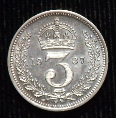 1937 Great Britain Silver 3 Pence Coin