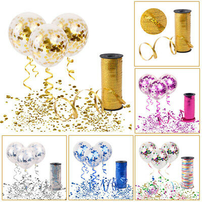 Confetti Filled Helium Balloon Curling Ribbon Rope Birthday Party Wedding Decor