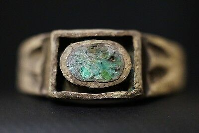 Ancient Roman Silver Finger Ring with Stunning Mosaic Glass, circa 250-350 AD.