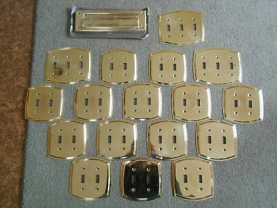 Bright Brass Light Switch Cover Covers Dual Triple Plates Door Letter Mail Slot