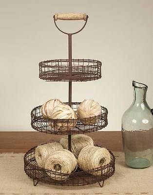 Rustic Three Tier Rack Stand With Handle Farmhouse  Metal Wire Basket Vintage