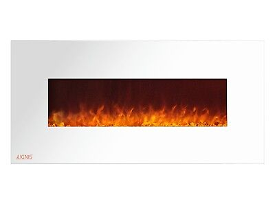 Ignis Royal White 50 inch Wall / Recessed Mount Electric Fireplace with Crystals