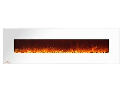 Ignis Royal White 72 inch Wall / Recessed Mount Electric Fireplace with Pebbles