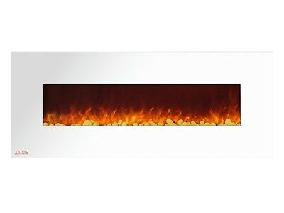 Ignis Royal White 60 inch Wall / Recessed Mount Electric Fireplace with Pebbles