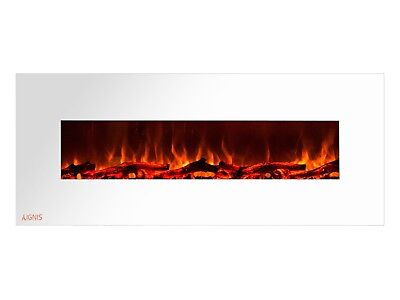 Ignis Royal White 60 inch Wall / Recessed Mount Electric Fireplace with Logs