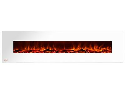 Ignis Royal White 95 inch Wall / Recessed Mount Electric Fireplace with Logs